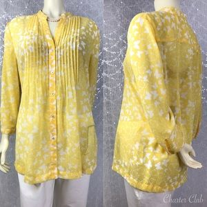 Charter Club Womens Yellow Sheer Butterfly Blouse